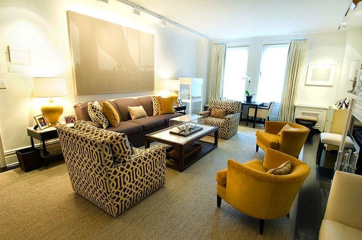 Suzie: Christina Murphy Interiors - Charcoal gray & yellow chic, modern living room design with ...