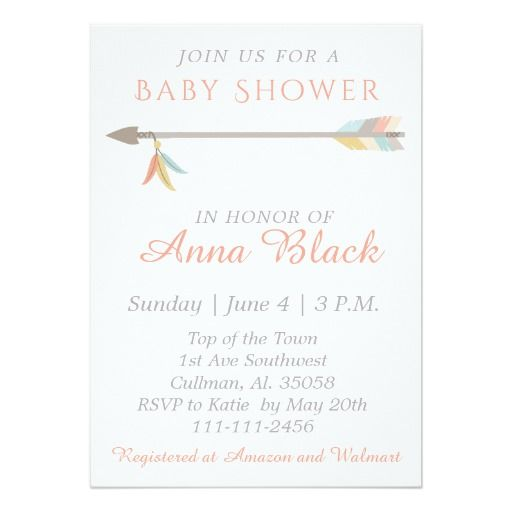 Arrow And Feather Baby Shower Invitation