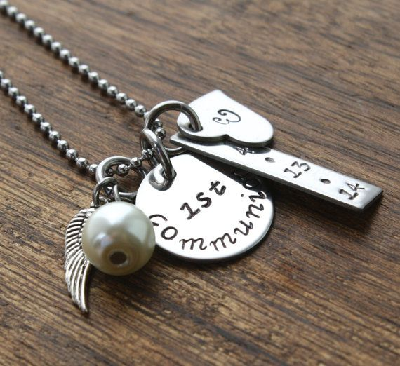 First Communion Jewelry, Personalized First Communion Necklace, Personalized First Communion Gift, Communion Gift Present, For Girl by sierrametaldesign. Explore more products on http://sierrametaldesign.etsy.com