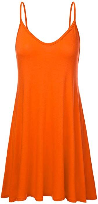 4c9095df5f0b7 NINEXIS Women's Basic Spaghetti Strap Cami Tank Tunic Dress Orange S at Amazon  Women's Clothing store: