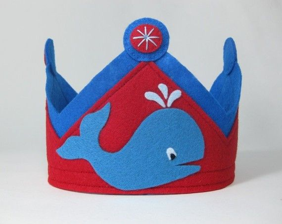 Felt Whale Birthday Crown by TwoLittleBluebirds on Etsy, $23.00