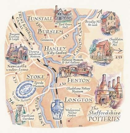 A map of The Potteries, Staffordshire, England by David Hobbs