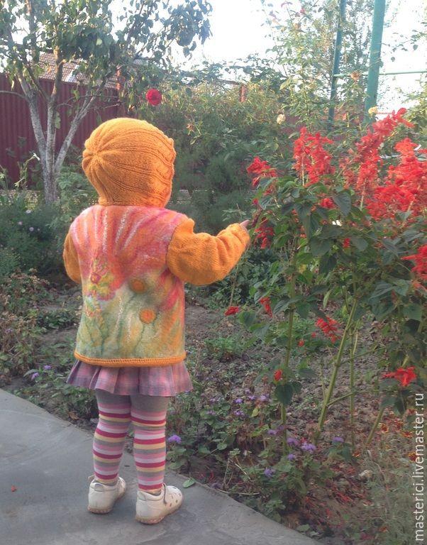 """Купить Детская куртка """"цветочек аленький"""" - рыжий, цветочный, детская одежда…"""