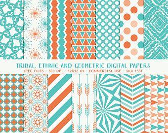 Aqua Green Geometric digital paper digital scrapbooking background paper pack water digital paper chevron pattern patterns Instant download