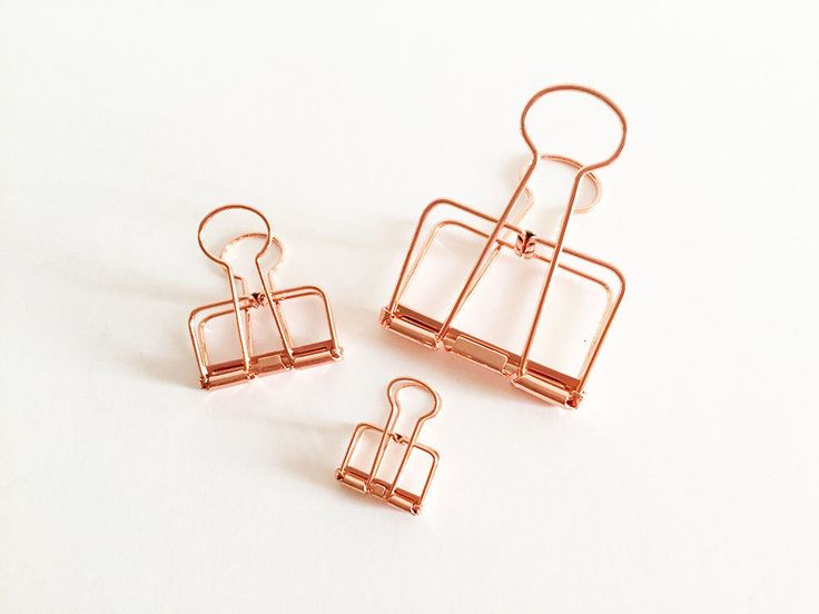1 / 2 pcs Metal Binder Clips Rose Gold Korean Stationery Bookmarks Cute Planner