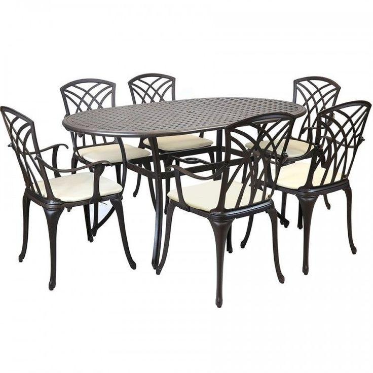 Cast Aluminium Patio Set Metal 7 Piece Garden Furniture Table Chairs Bronze Big