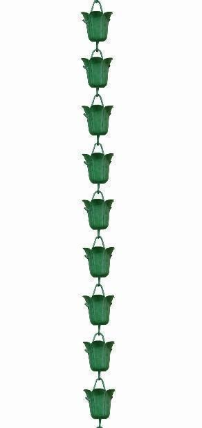 Tulip - Green Patina Rain Chains Rain Gutter Chain, Copper Rain Chain Downspout for Sale
