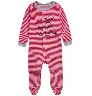 Welurowy pajac dla niemowlaka, kolekcja: Mini Endo paski