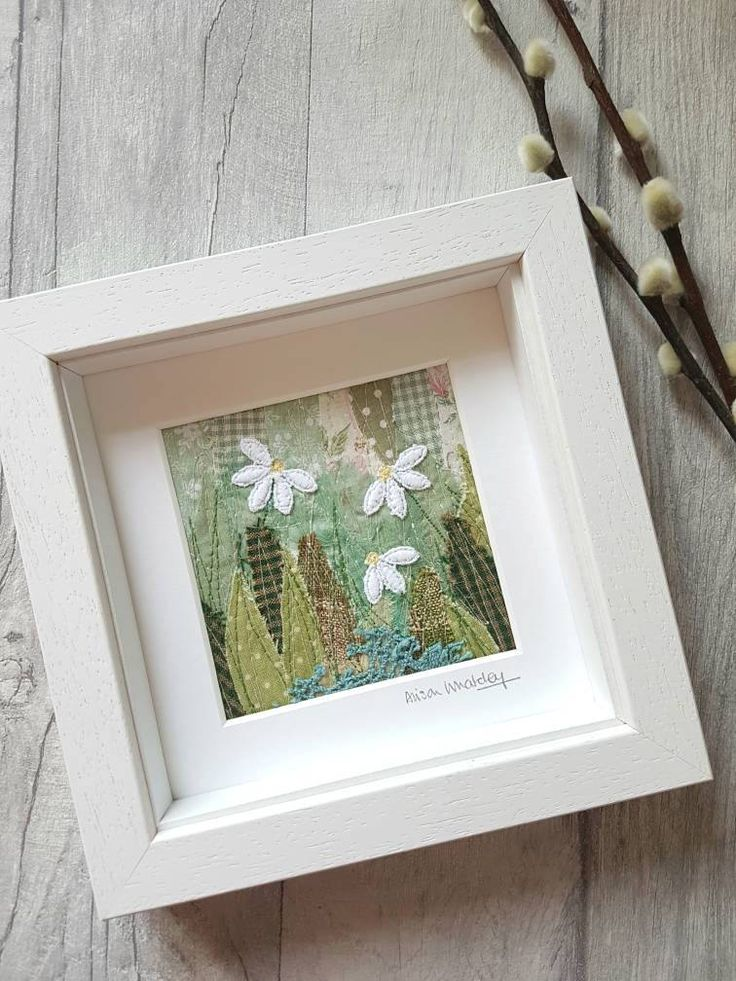 Daisy picture, original textile picture, original textile art, applique art, free motion embroidery, embroidery art, flowers, gift for her
