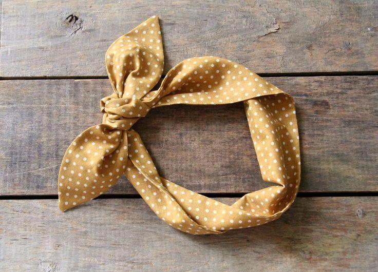 Gold and white polka dot headscarf / boho / tie up headband / adjustable / summer fall fashion / knotted headband
