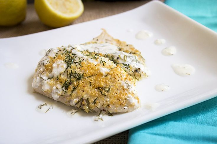 Recipe: Skinny Lemon Tilapia || Per Serving (1 fillet and ½ Tbsp sauce): Calories: 132, Fat: 4g, Carbohydrates: 0g, Fiber: 0g, Protein: 23g