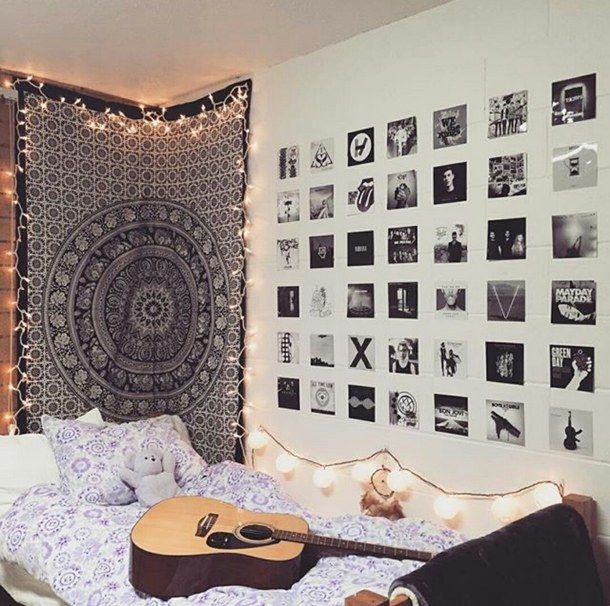 aesthetic, alternative, bed, bed sheets, bedroom, cute, fairy lights, girly, grunge, guitar, indie, lights, love, music, nirvana, perfect, photos, posters, room, shawn mendes
