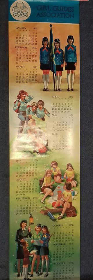 Example of a calendar produced for Girl Guides