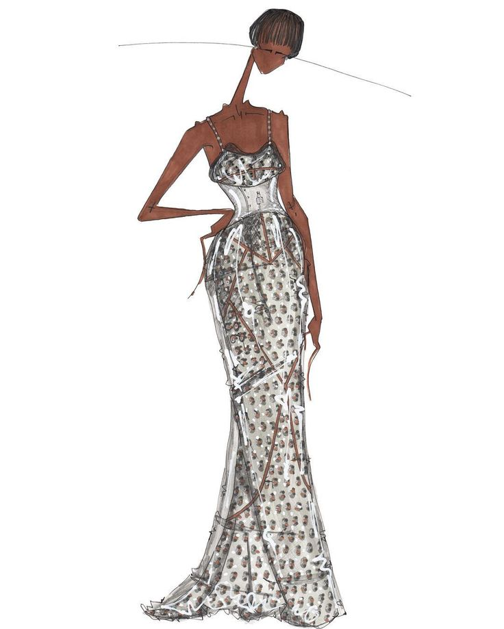 Joseph Larkowsky Illustration, Naomi Campbell In Dolce And