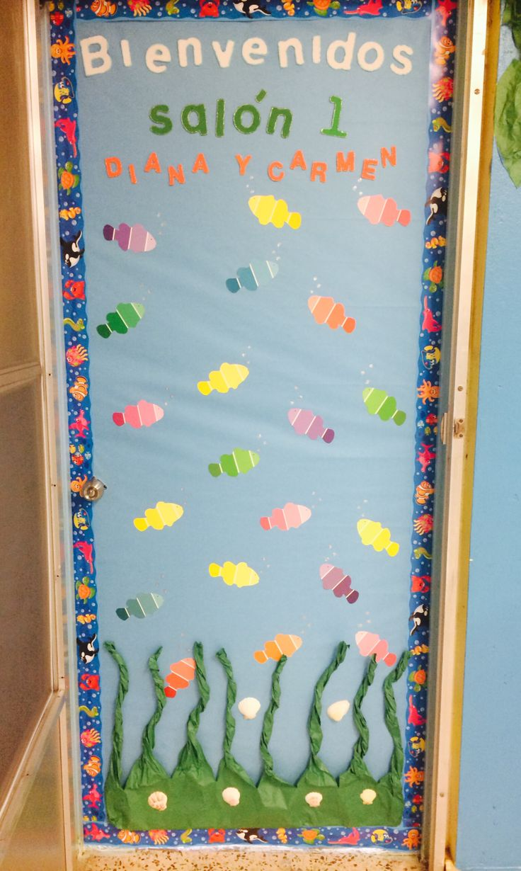 Under the sea classroom door / ocean theme  Decoracion puerta salon de clases animales del mar