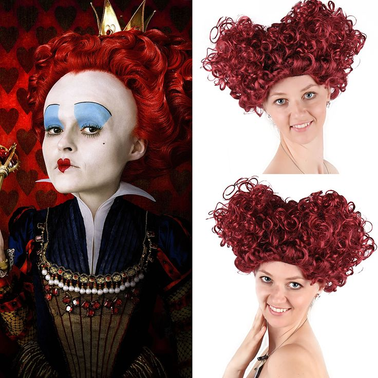 New Queen of Hearts Burgundy Wig Adult Red Queen Wig Short Afro Curly Alice Storybook Fancy Dress Halloween Costumes Accessories