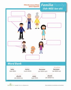 Want some new names for mom and dad? Learn all the Spanish words for your family members in this bilingual worksheet.