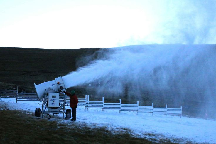 Firing up the snowmaking cannons at the beginning of the skiing season Afriski Mountain Resort.