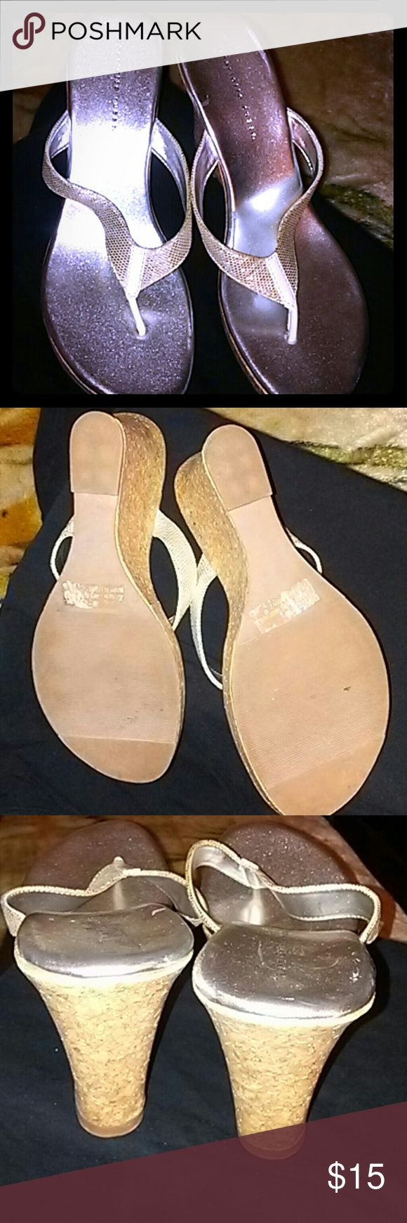 Silver wedge sandals Silver wedge sandals.  Like new! Charlotte Russe Shoes Wedges