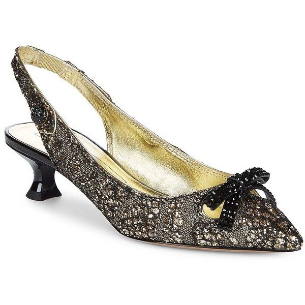Marc Jacobs Women's Abbey Slingback Pumps ($350) ❤ liked on Polyvore featuring shoes, pumps, gold, kitten heel slingbacks, kitten heel slingback shoes, slingback shoes, sparkly pumps and sling back pumps