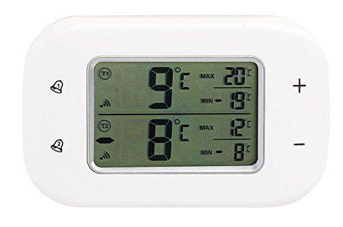 Thermomètre digital sans fil pour réfrigérateur et congélateur avec 2 capteurs: Large écran LCD avec affichage de la température Capteurs…