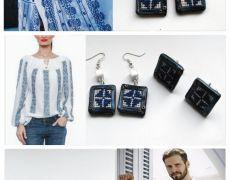 Rustic blue  - Butoni si cercei cu cusaturi folclorice - Cadou el si ea