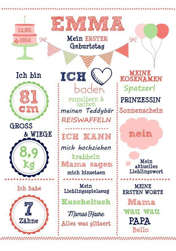 "Meilensteintafel 1. Geburtstag ""Korall/Mint"""", Geburtstagsposter, Chalkboard, Kunstdruck, personalisiert"
