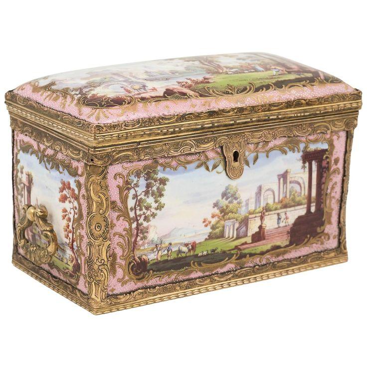 Extremely Rare Bilston Enamel Box, Mounted in Gilt Brass, England, circa 1780 | 1stdibs.com