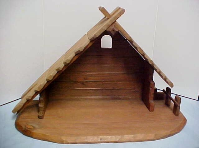 Vintage Manger in Germany Nativity Manger Stable Creche Wooden Large 22 ¼"