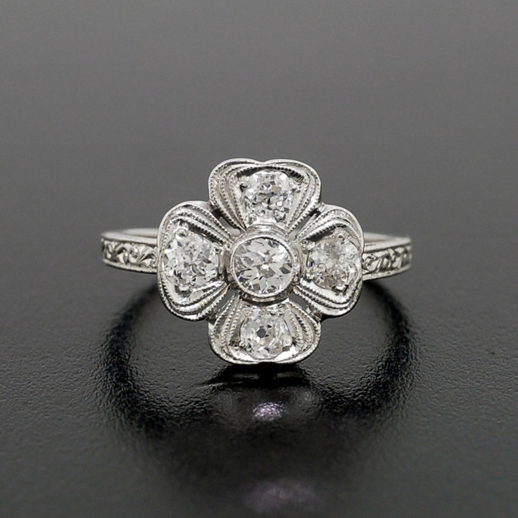 ring diamond rings pinterest on deco and leaf four best platinum clover images art