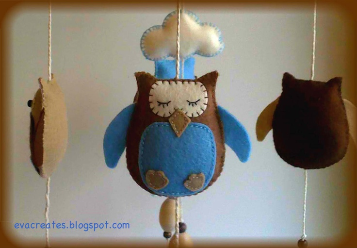 mobile with chocolate and blue owls.nursery decor