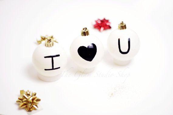 Palle di natale amore I love you decorazioni natalizie Idee regalo per lui idee regalo per lei Primo natale insieme palle di natale bianche