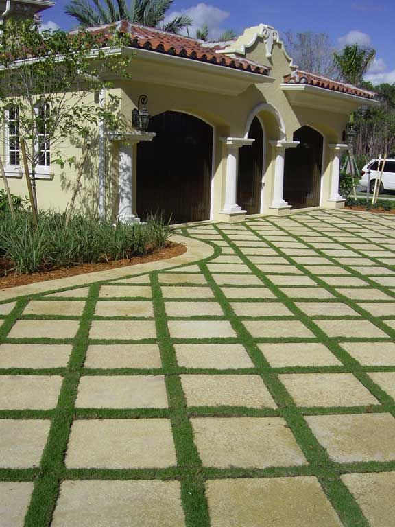 garage walkway grass completed driveway large concrete blocks drainage pavers lowes price home depot