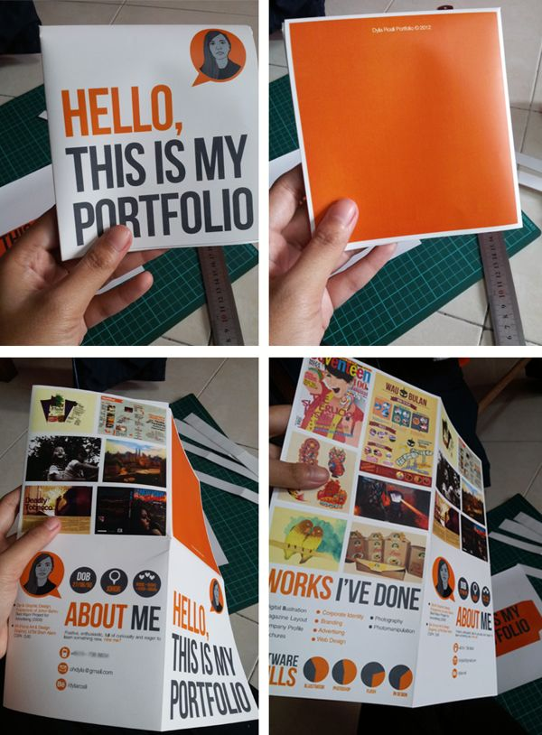 could be an interesting way to approach a graphic design project design a portfolio of your work do this in the french foldcut out folded - Graphic Design Project Ideas