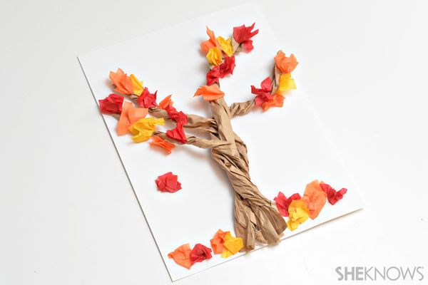 3D paper bag tree kids craft