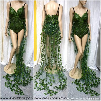 More Coverage Poison Ivy Monokini Gown with Train Costume Cosplay Dance Costume Rave Bra Rave Wear Halloween Burlesque Show Girl from L'Amour Le Allure