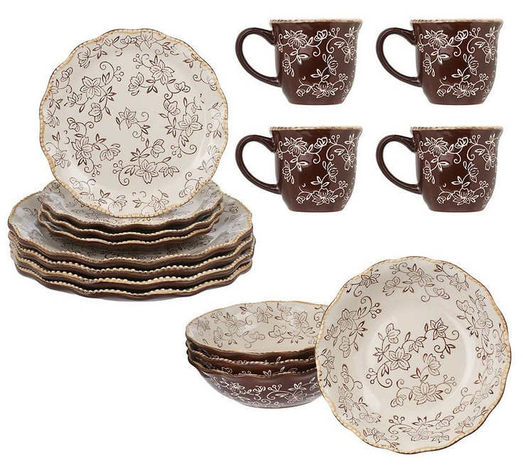 Beautiful Temp Tations Floral Lace 16 Piece Dinnerware Service For 4