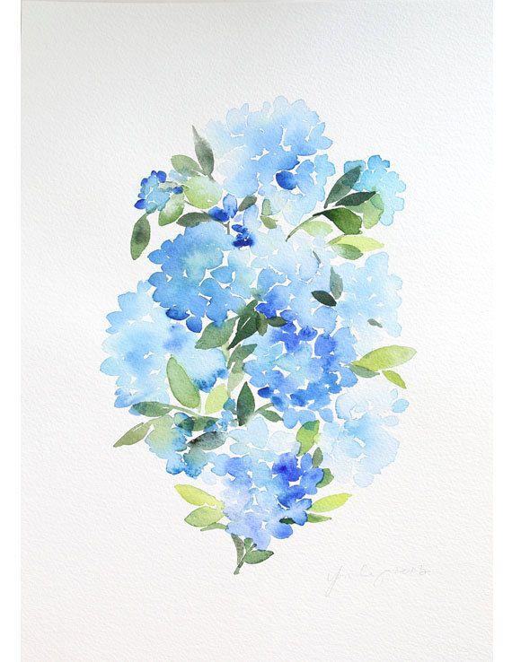 10 x 14 blu ortensie acquerello dipinto di YaoChengDesign su Etsy
