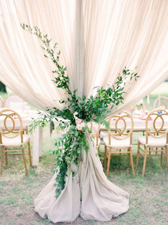 Beautiful reception draping, Elegant Pastel Wedding Inspiration by Christy Wilson Photography