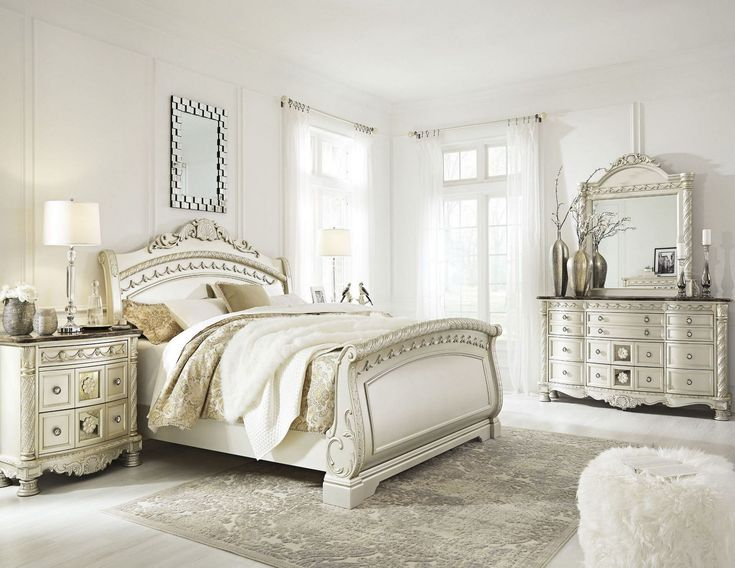Cassimore North Shore Pearl Silver Sleigh Bedroom Setmedia Title Bedroom Set Sleigh Bedroom Set Bedroom Sets