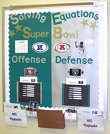 Math Interactive Super Bowl Bulletin Board Idea