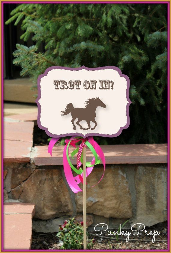 Horse Party Small Yard Signs With Editable Text Printable