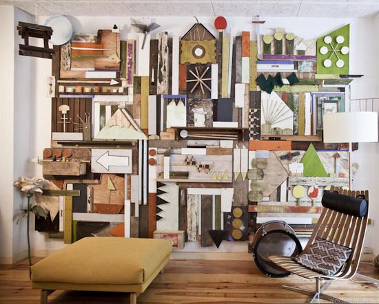 Boooo for white walls! This wooden mural from Hyland Mather says it all.