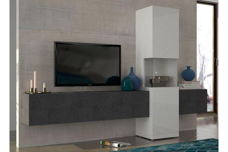 Vente Sejour Trendy 23882 Compositions Murales Composition Murale Incontro Blanc Laque Et Imitation Mar Meuble Tv Mural Design Meuble Tv Idee Meuble Tv