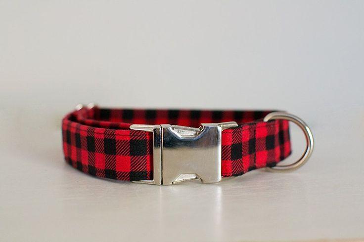 Dog Collar-Large Dog Collar-Small Dog Collar-Male Dog Collar-Plaid Dog Collar-Red Plaid Dog Collar-Christmas Dog Collar-Red Gingham Collar by SLWdesignsCo on Etsy
