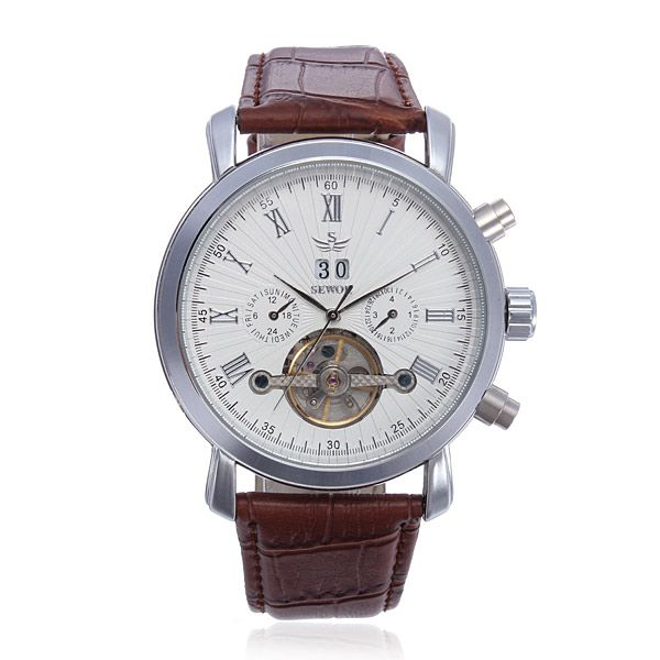 SEWOR Multifunction Leather Automatic Mechanical Men Wrist Watch - US$25.59