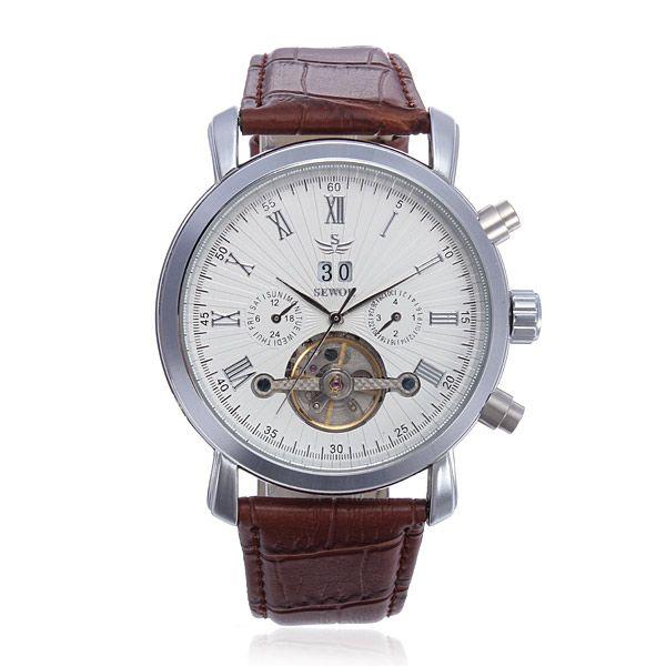 SEWOR Multifunction Leather Automatic Mechanical Men Wrist Watch - US$25.59