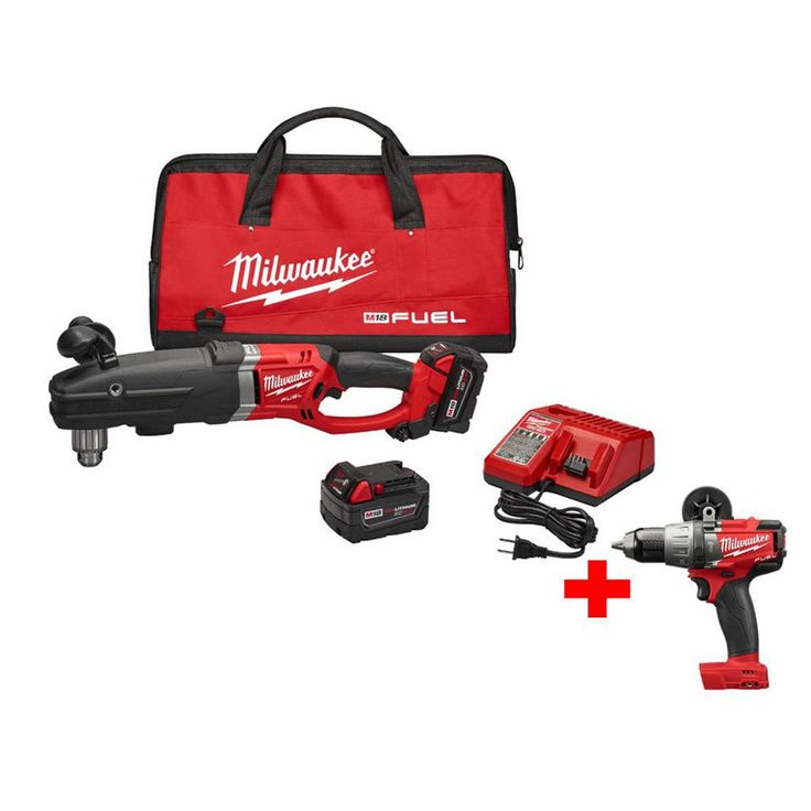 Milwaukee M18 Fuel 18-Volt Lithium-Ion Brushless 1/2 in. Super Hawg Right Angle Drill Kit with Free M18 Fuel 1/2 in. Hammer Drill