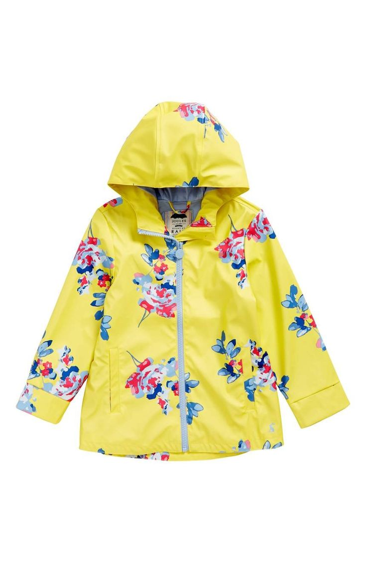 A charming floral print enlivens a waterproof rain coat that's sure to keep her dry on drizzly days.