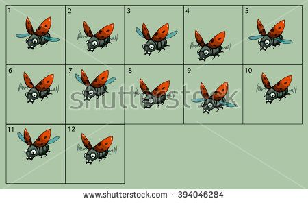 cartoon vector ladybird animation fly. Game icon funny flying insect. Vector design for app user interface.